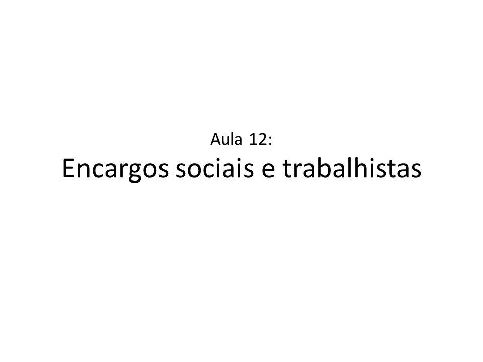 Aula 12: Encargos sociais e trabalhistas