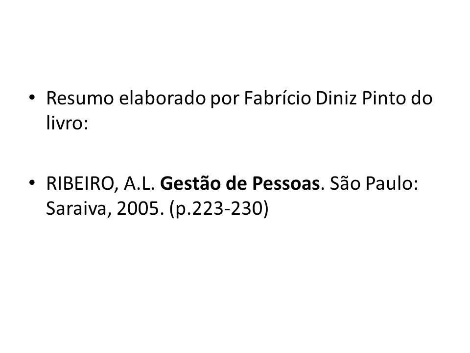 Resumo elaborado por Fabrício Diniz Pinto do livro: