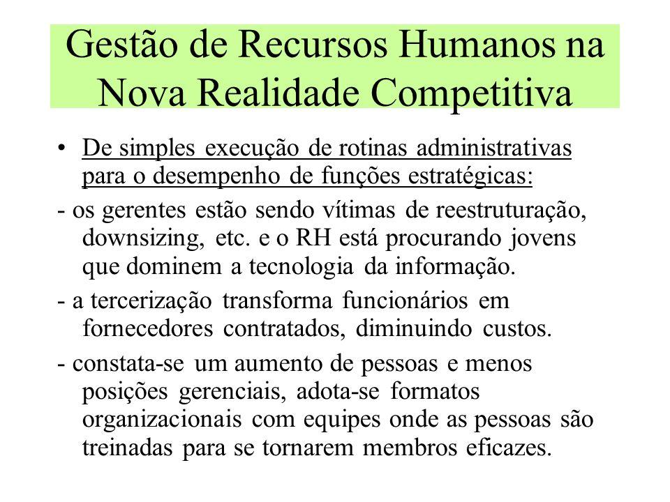 Gestão de Recursos Humanos na Nova Realidade Competitiva