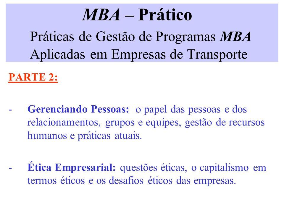 MBA – Prático Práticas de Gestão de Programas MBA Aplicadas em Empresas de Transporte