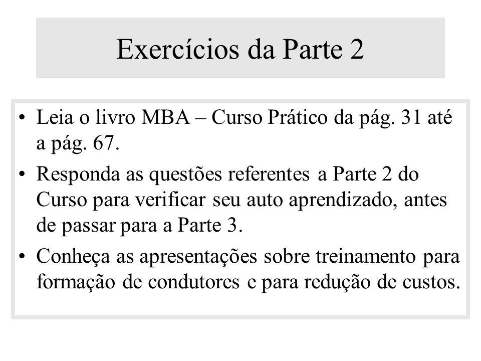 Exercícios da Parte 2 Leia o livro MBA – Curso Prático da pág. 31 até a pág. 67.