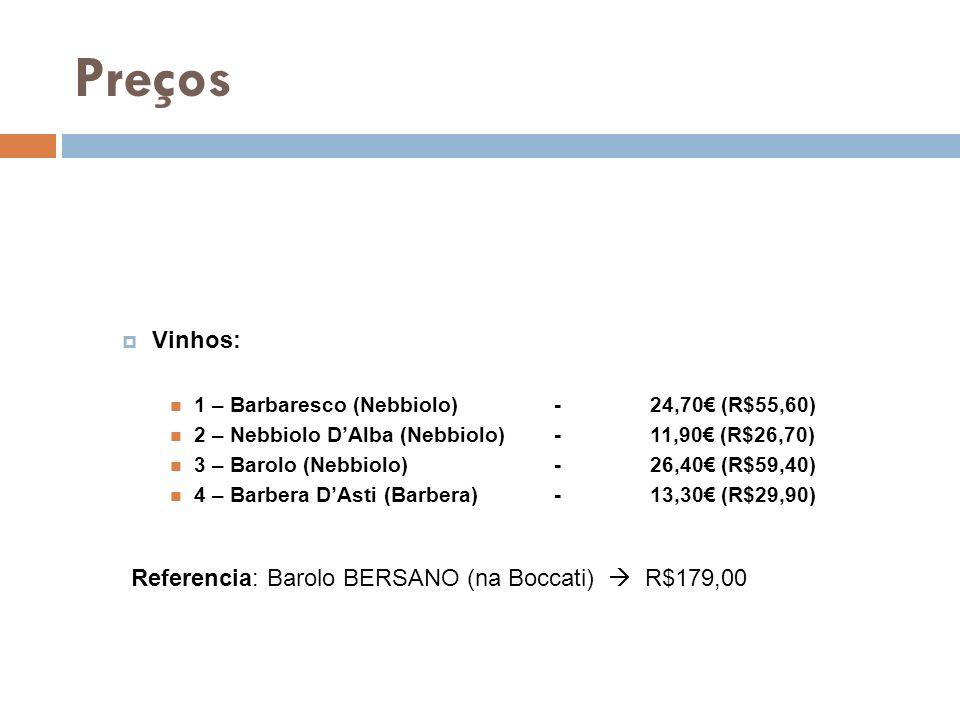 Preços Vinhos: Referencia: Barolo BERSANO (na Boccati)  R$179,00
