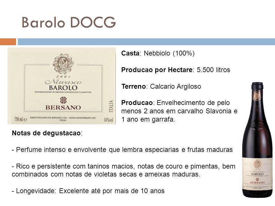 Barolo DOCG Casta: Nebbiolo (100%) Producao por Hectare: 5.500 litros