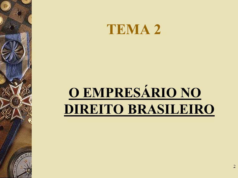 O EMPRESÁRIO NO DIREITO BRASILEIRO