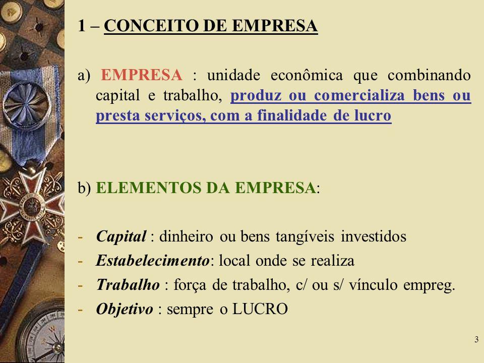 1 – CONCEITO DE EMPRESA