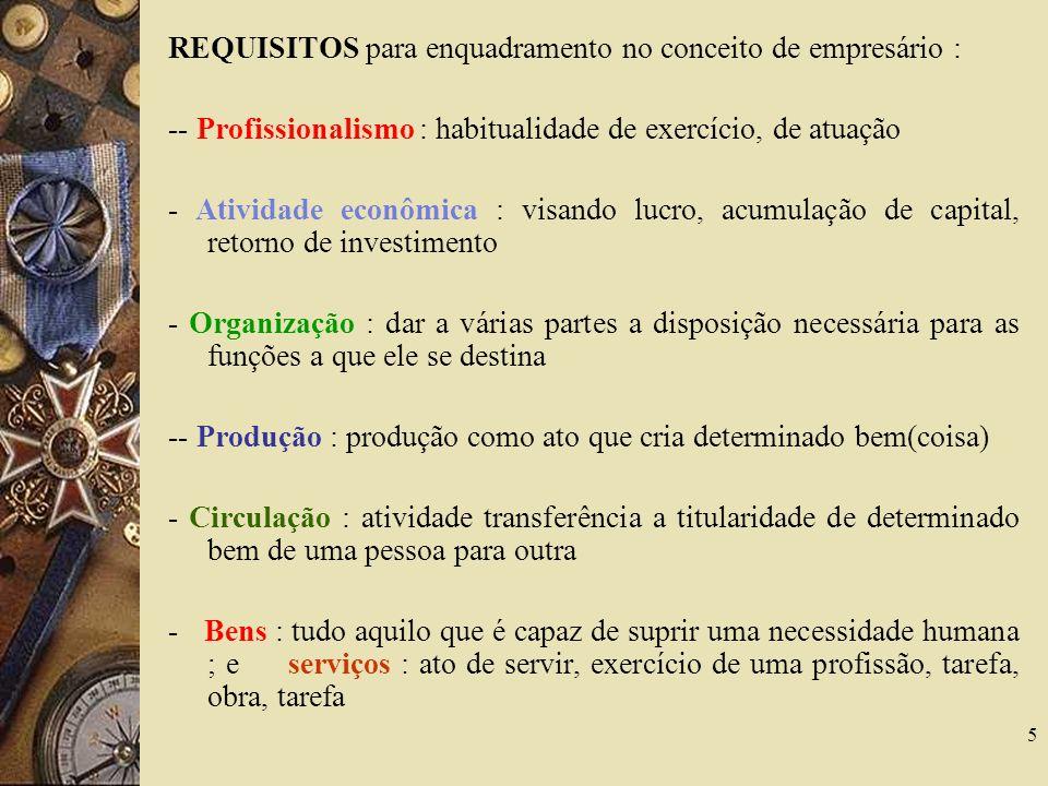 REQUISITOS para enquadramento no conceito de empresário :
