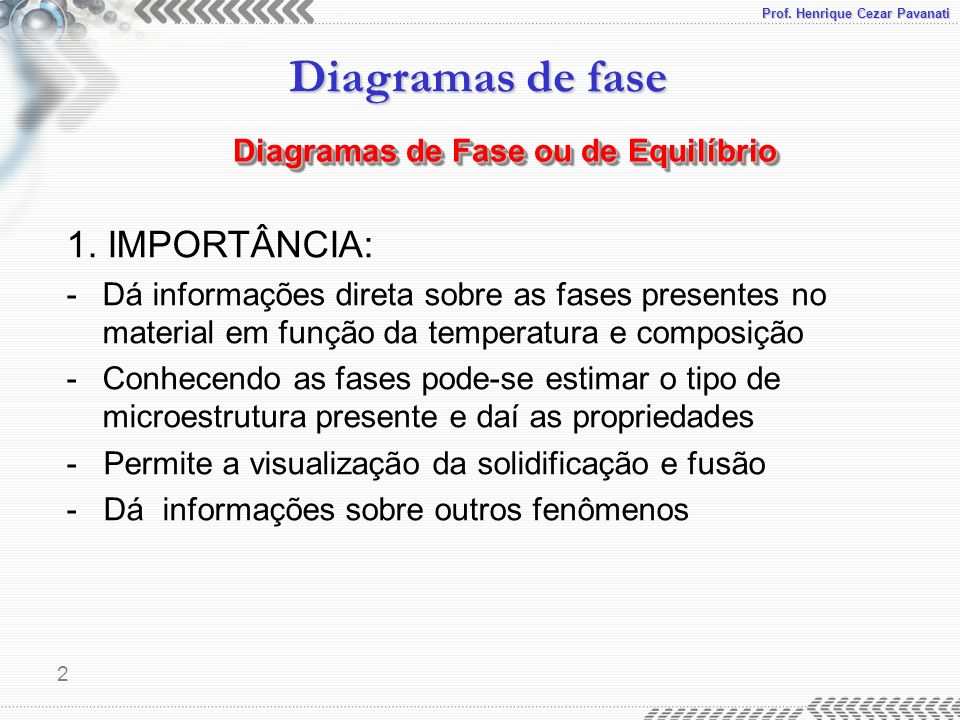 1. IMPORTÂNCIA: Diagramas de Fase ou de Equilíbrio