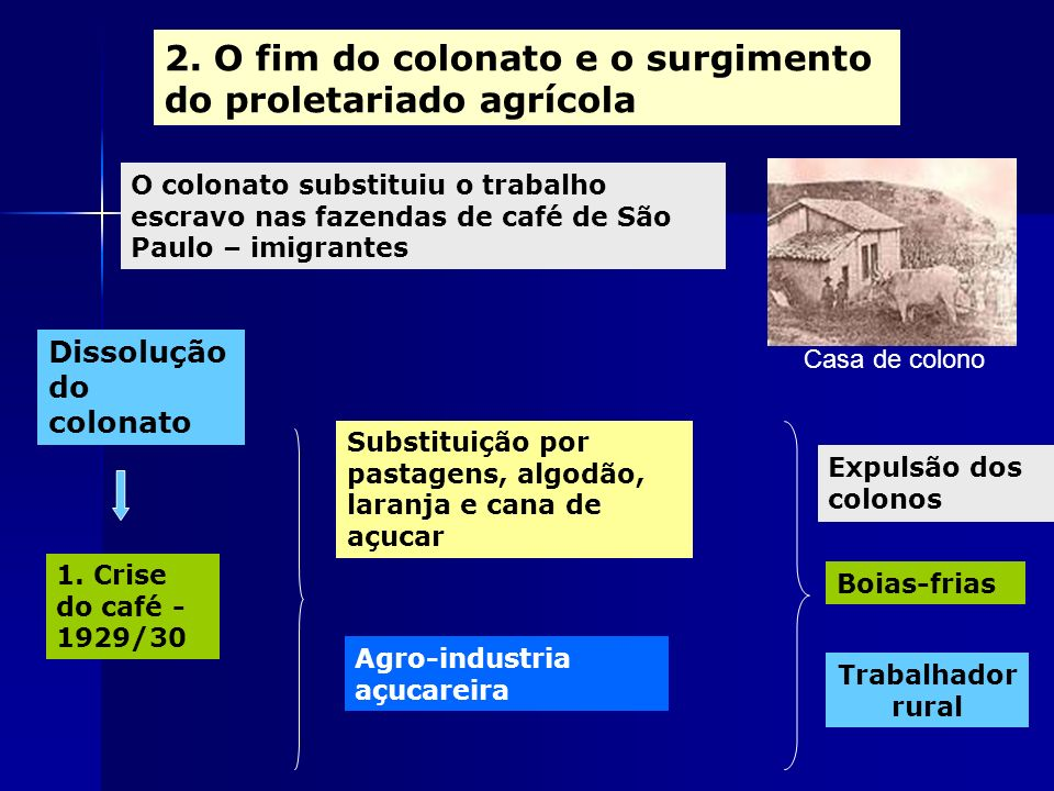 2. O fim do colonato e o surgimento do proletariado agrícola