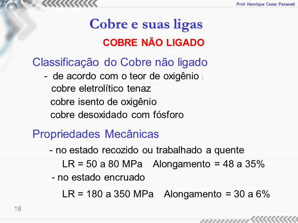 LR = 50 a 80 MPa Alongamento = 48 a 35%