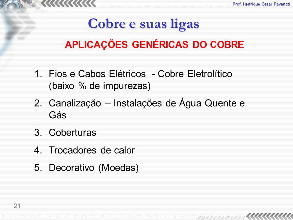 APLICAÇÕES GENÉRICAS DO COBRE
