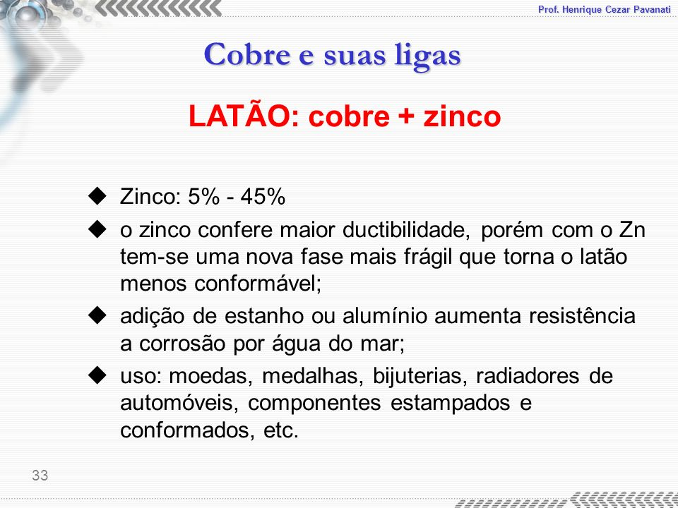 LATÃO: cobre + zinco Zinco: 5% - 45%