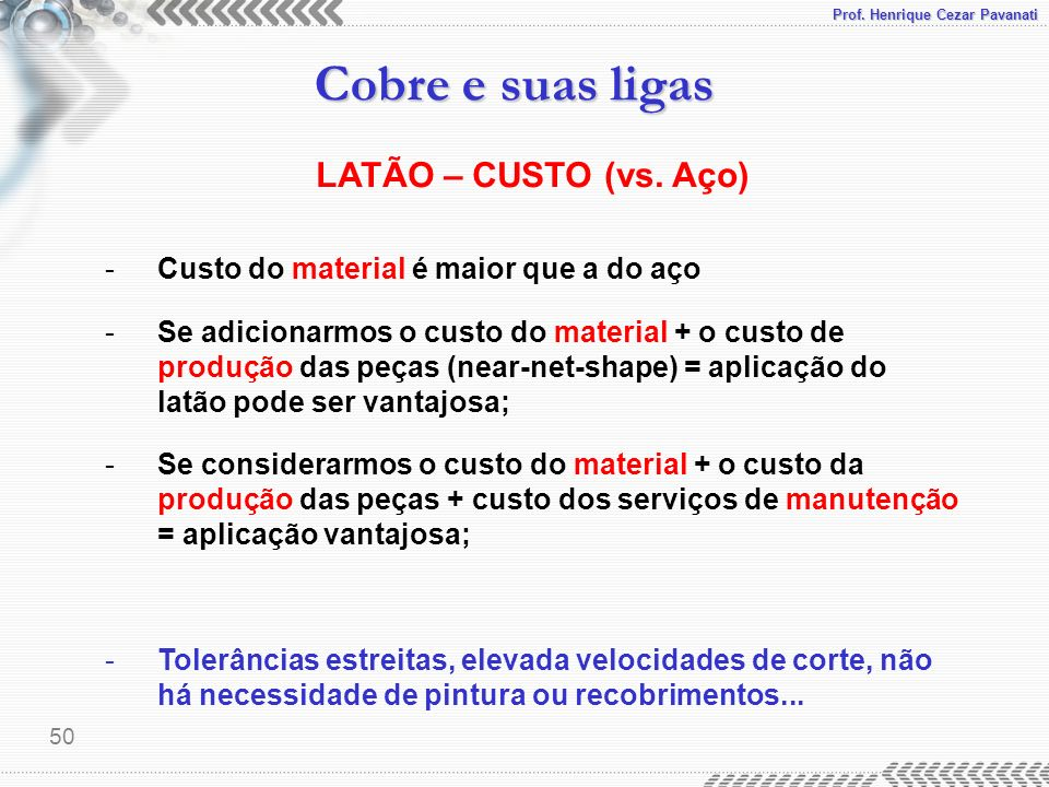 LATÃO – CUSTO (vs. Aço) Custo do material é maior que a do aço