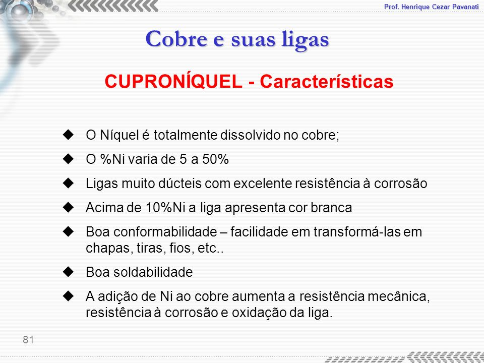 CUPRONÍQUEL - Características