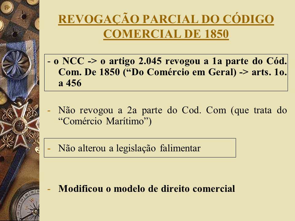 REVOGAÇÃO PARCIAL DO CÓDIGO COMERCIAL DE 1850