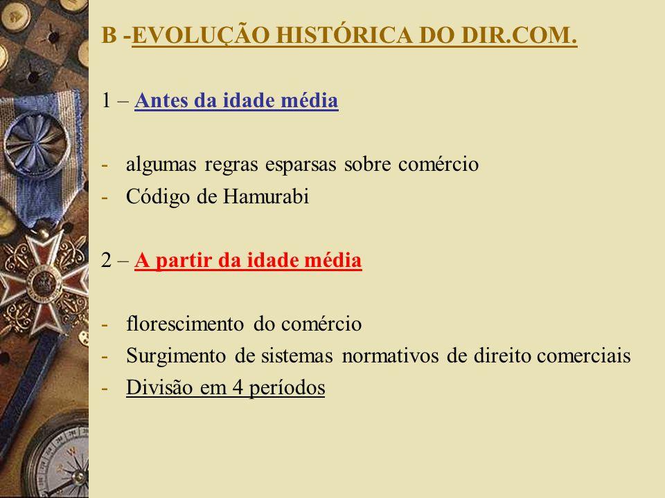 B -EVOLUÇÃO HISTÓRICA DO DIR.COM.
