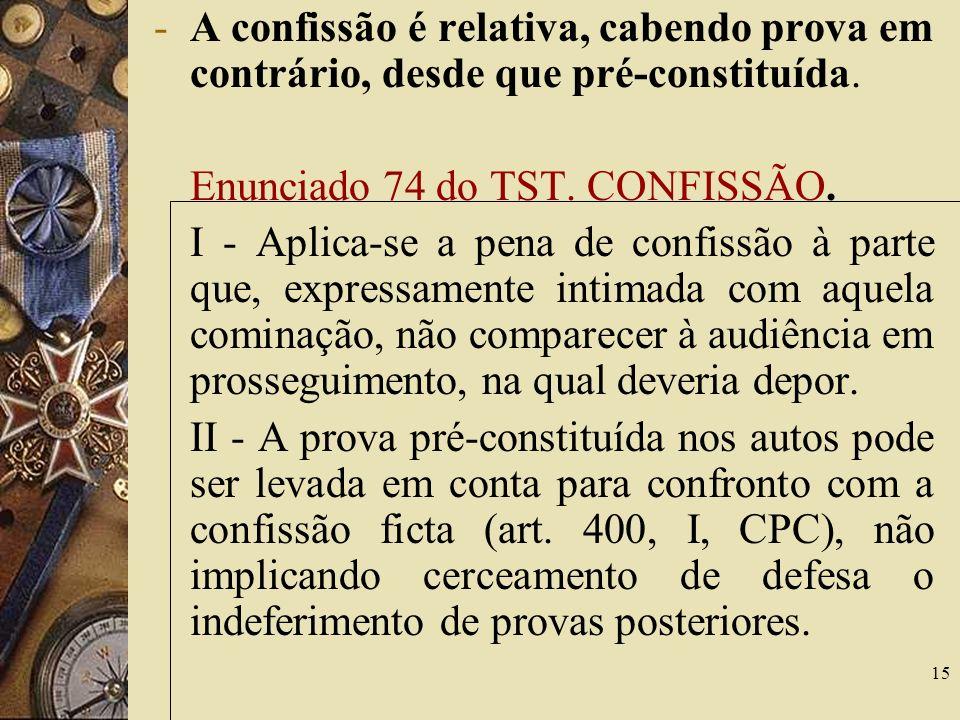 A confissão é relativa, cabendo prova em contrário, desde que pré-constituída.
