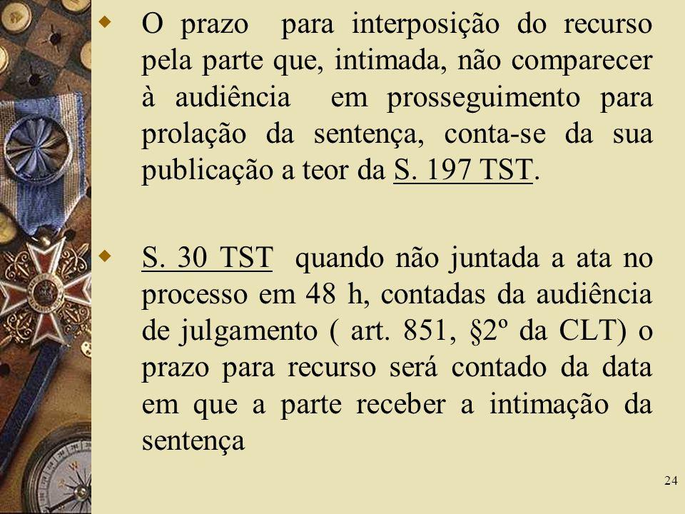 O prazo para interposição do recurso pela parte que, intimada, não comparecer à audiência em prosseguimento para prolação da sentença, conta-se da sua publicação a teor da S. 197 TST.