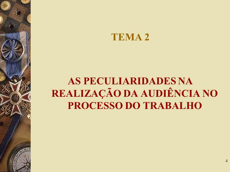 AS PECULIARIDADES NA REALIZAÇÃO DA AUDIÊNCIA NO PROCESSO DO TRABALHO