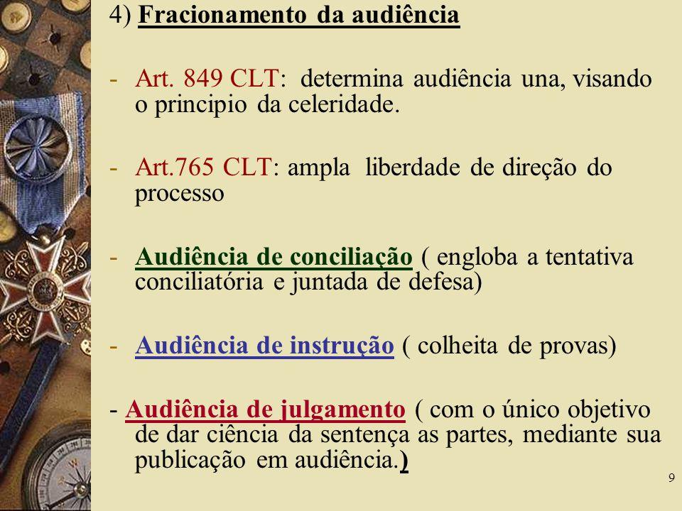 4) Fracionamento da audiência