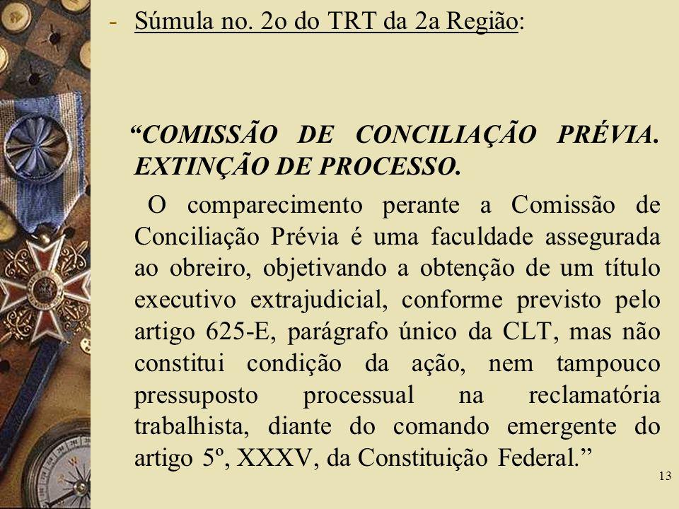 Súmula no. 2o do TRT da 2a Região: