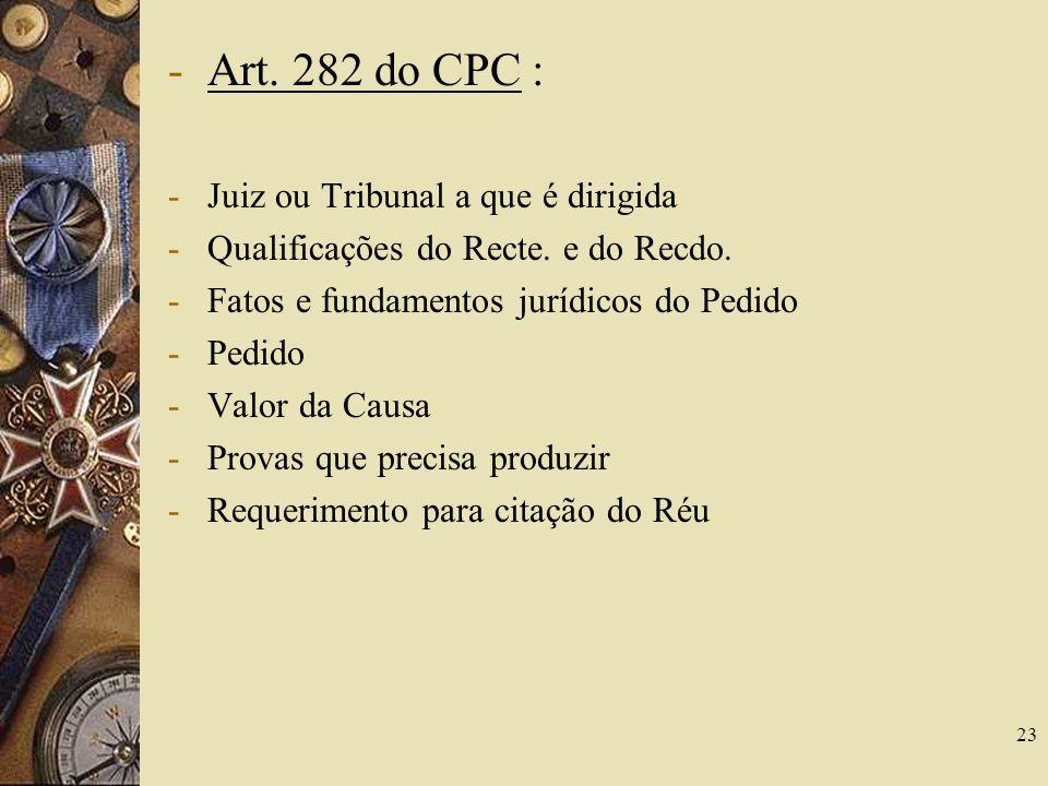 Art. 282 do CPC : Juiz ou Tribunal a que é dirigida