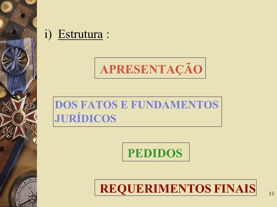 i) Estrutura : APRESENTAÇÃO DOS FATOS E FUNDAMENTOS JURÍDICOS PEDIDOS REQUERIMENTOS FINAIS