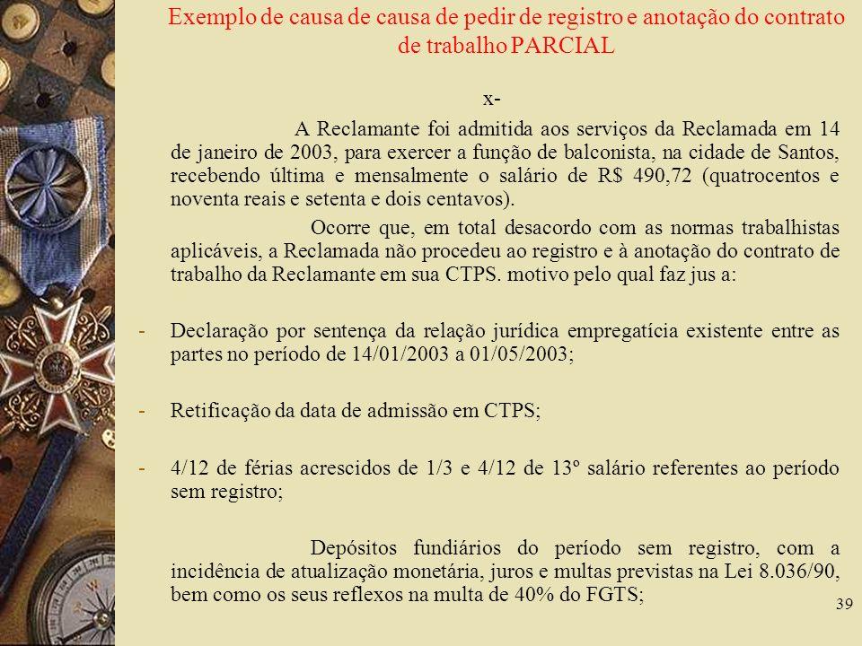 Exemplo de causa de causa de pedir de registro e anotação do contrato de trabalho PARCIAL