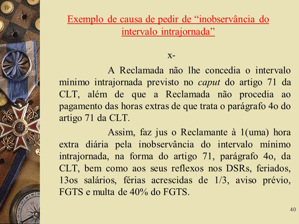Exemplo de causa de pedir de inobservância do intervalo intrajornada