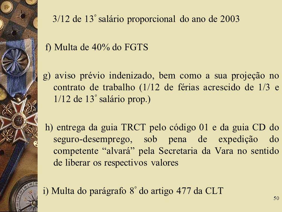 3/12 de 13º salário proporcional do ano de 2003