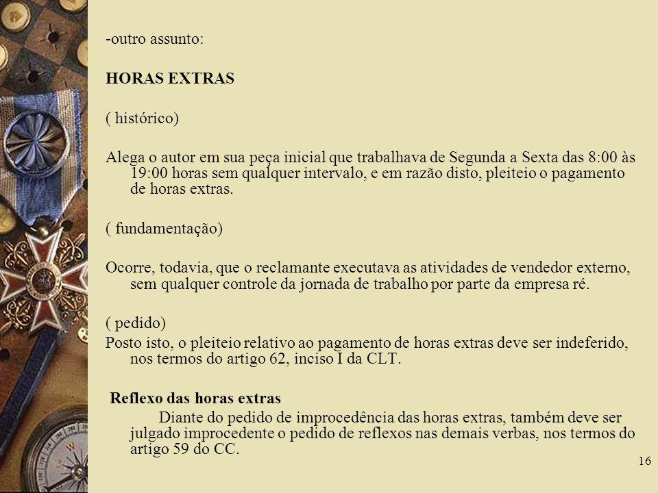 -outro assunto: HORAS EXTRAS. ( histórico)