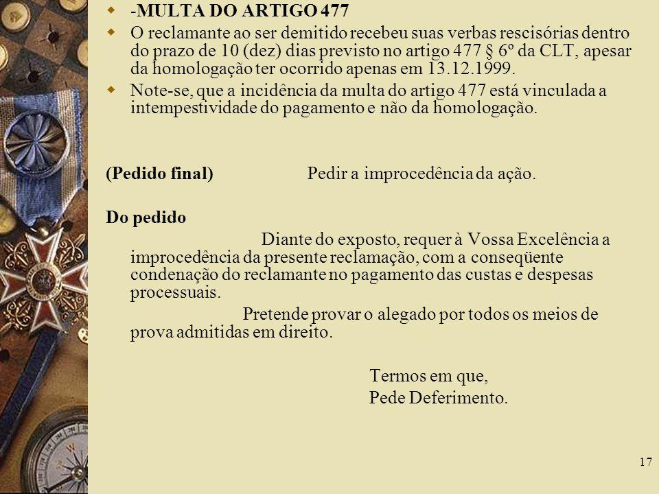 -MULTA DO ARTIGO 477