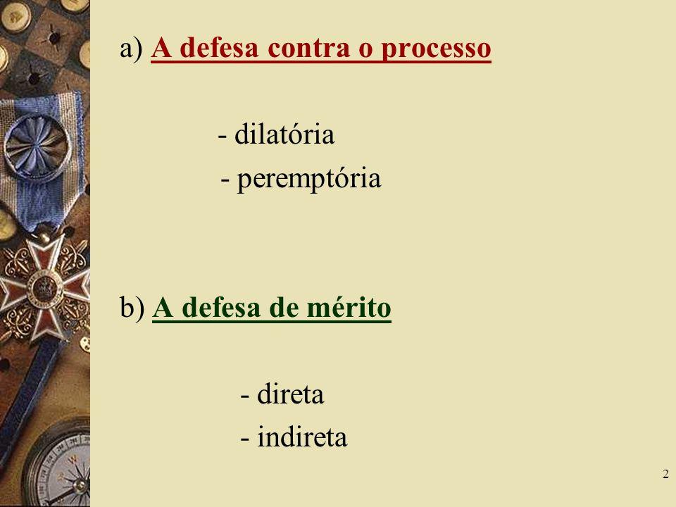 a) A defesa contra o processo
