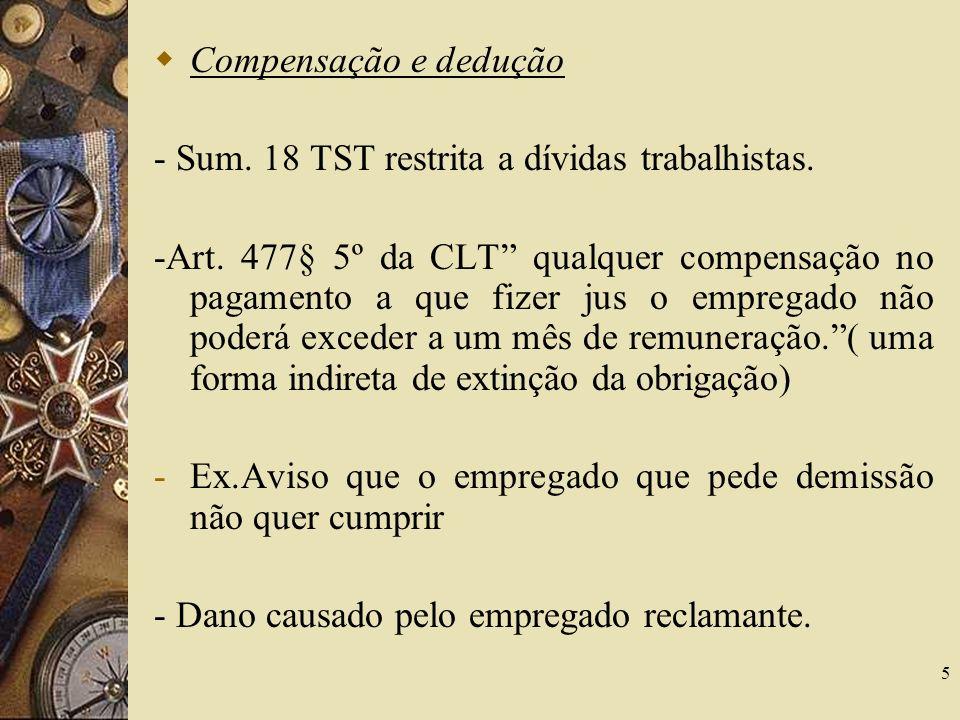 Compensação e dedução - Sum. 18 TST restrita a dívidas trabalhistas.