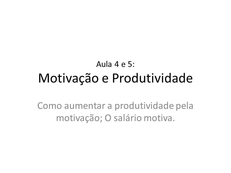 Aula 4 e 5: Motivação e Produtividade
