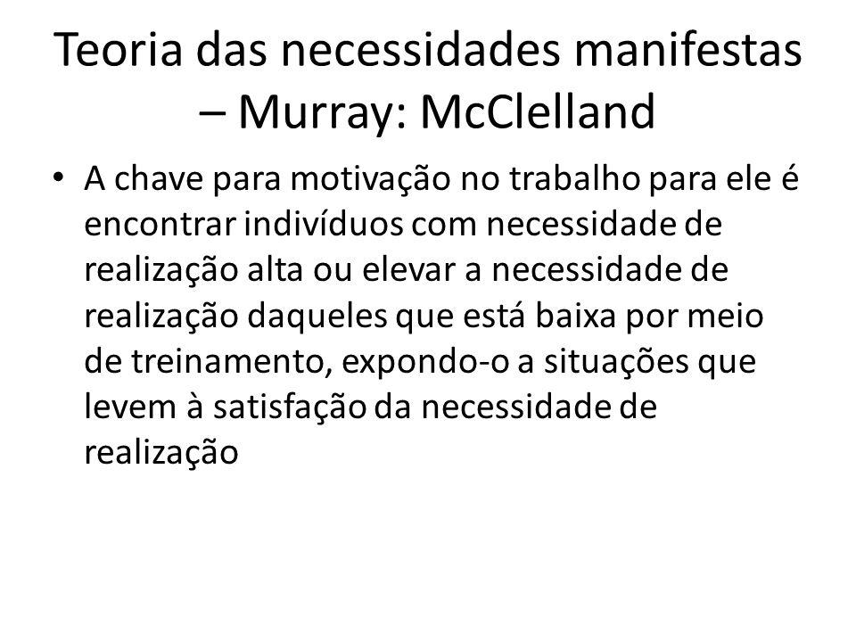 Teoria das necessidades manifestas – Murray: McClelland