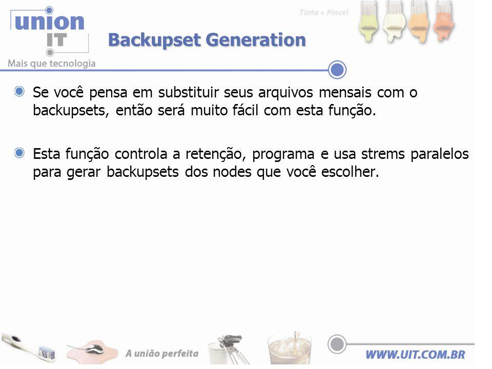 Backupset Generation Se você pensa em substituir seus arquivos mensais com o backupsets, então será muito fácil com esta função.