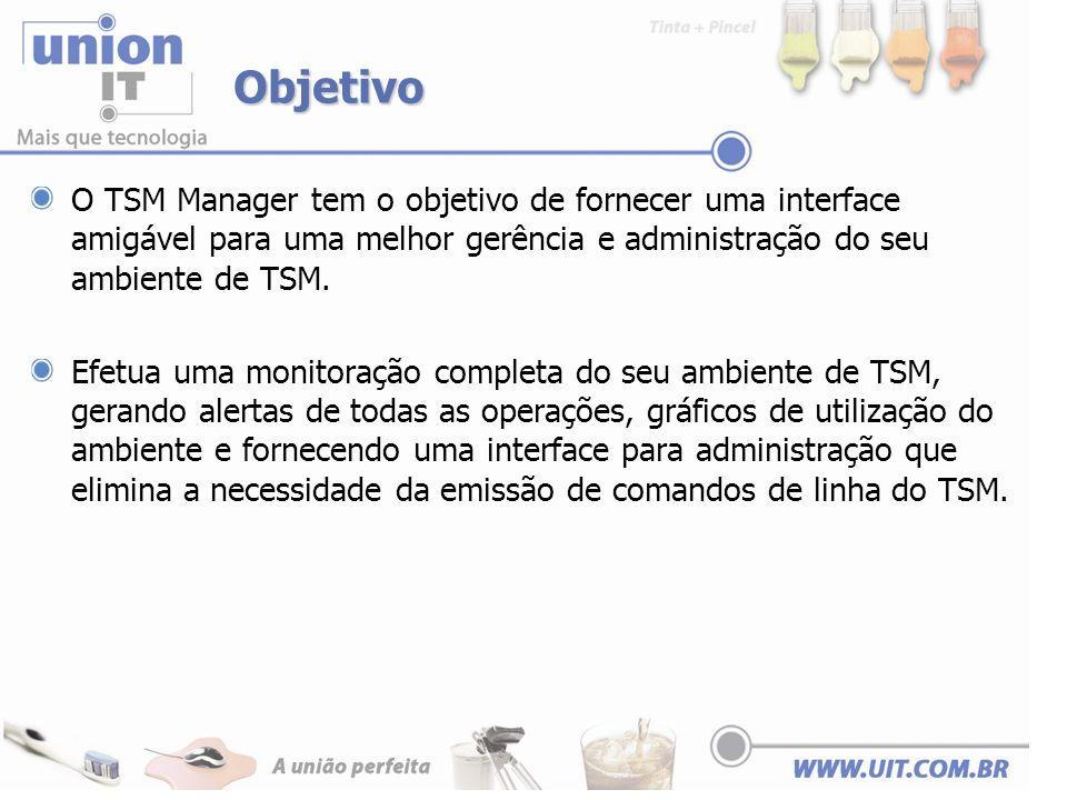 Objetivo O TSM Manager tem o objetivo de fornecer uma interface amigável para uma melhor gerência e administração do seu ambiente de TSM.