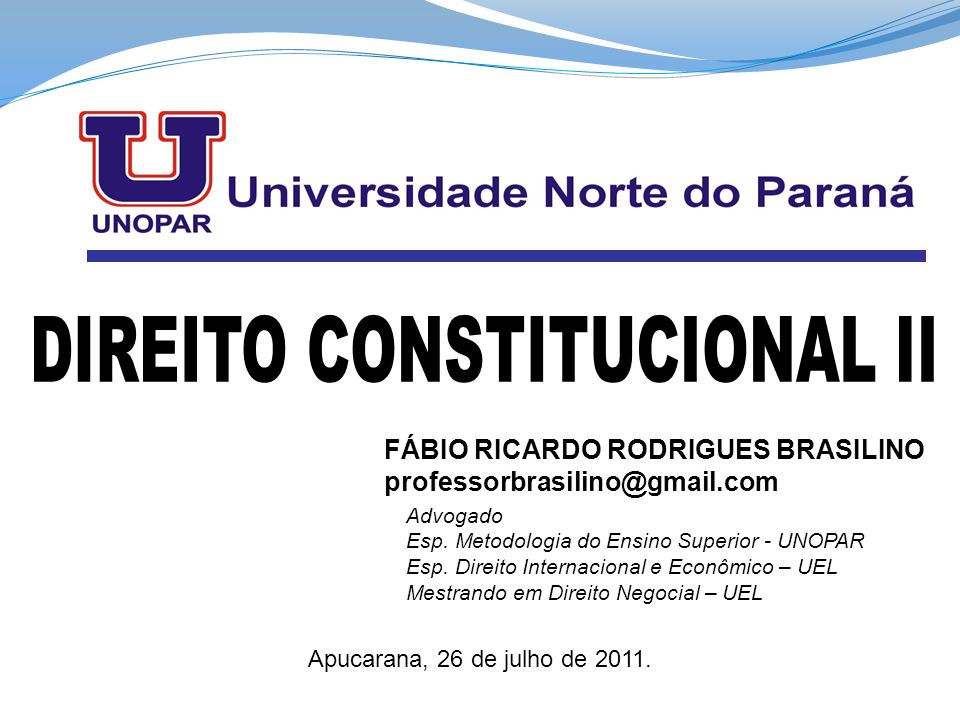 DIREITO CONSTITUCIONAL II