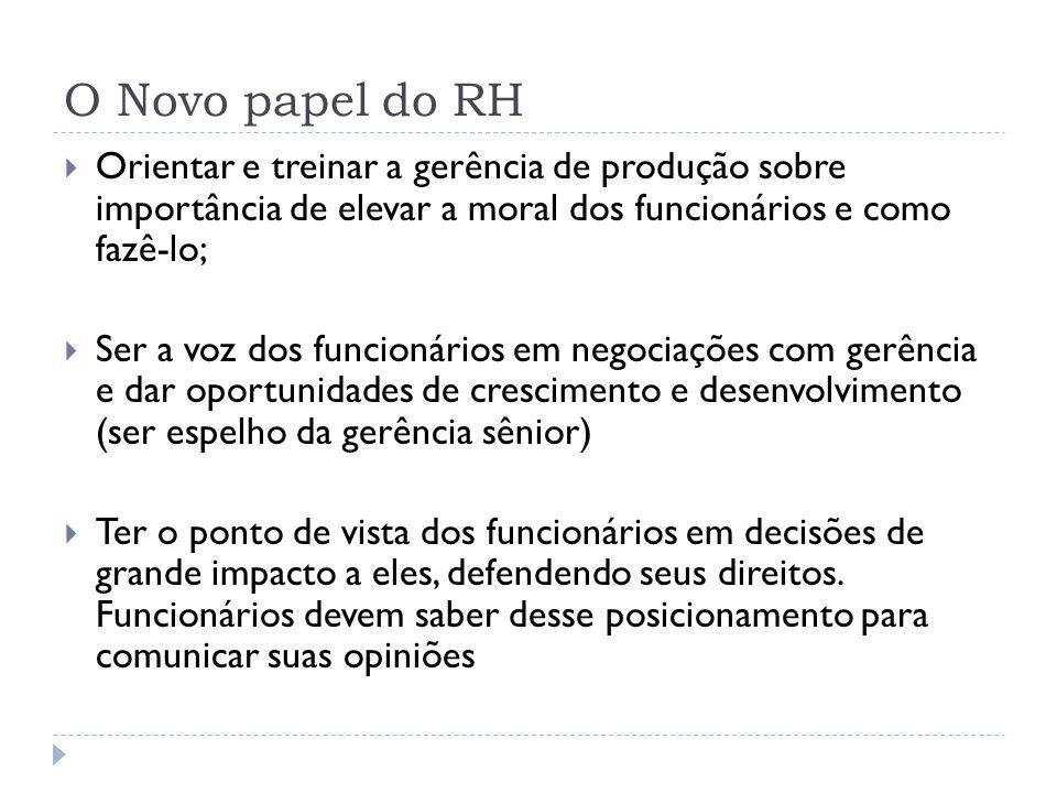 O Novo papel do RH Orientar e treinar a gerência de produção sobre importância de elevar a moral dos funcionários e como fazê-lo;