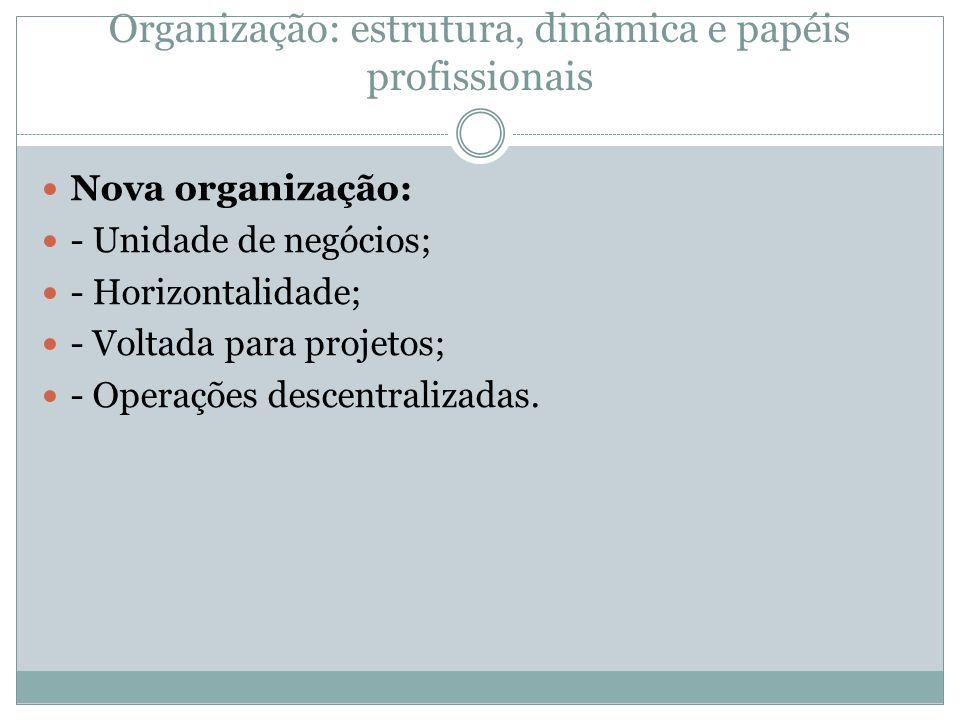 Organização: estrutura, dinâmica e papéis profissionais