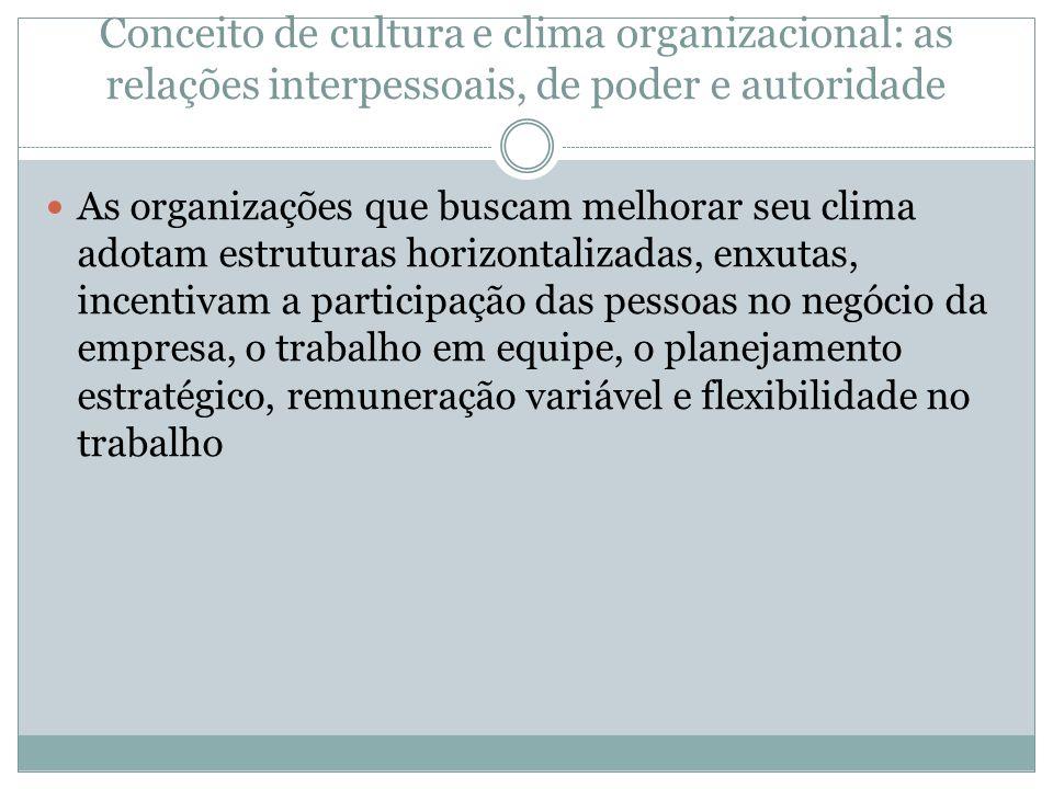 Conceito de cultura e clima organizacional: as relações interpessoais, de poder e autoridade