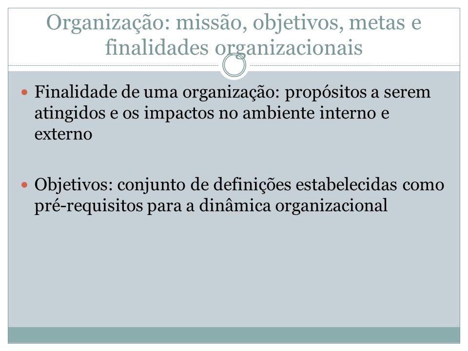 Organização: missão, objetivos, metas e finalidades organizacionais
