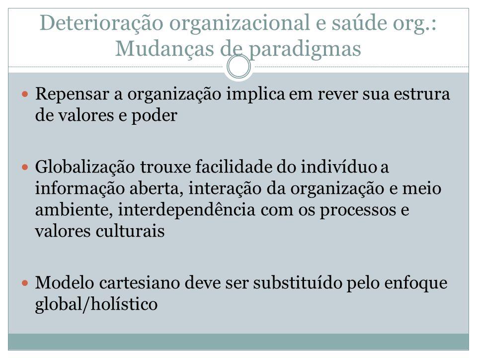 Deterioração organizacional e saúde org.: Mudanças de paradigmas