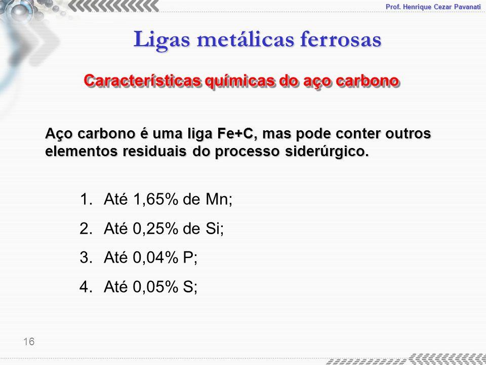 Características químicas do aço carbono