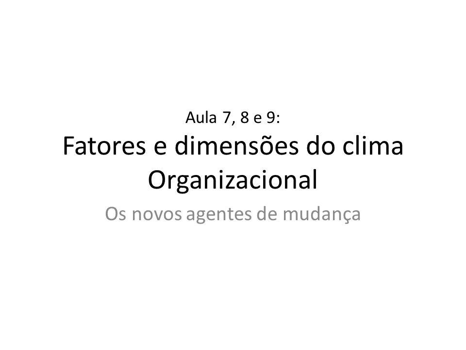 Aula 7, 8 e 9: Fatores e dimensões do clima Organizacional
