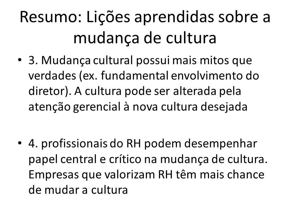 Resumo: Lições aprendidas sobre a mudança de cultura