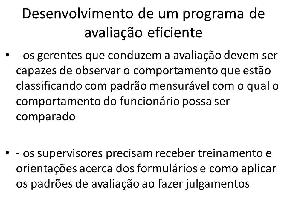 Desenvolvimento de um programa de avaliação eficiente