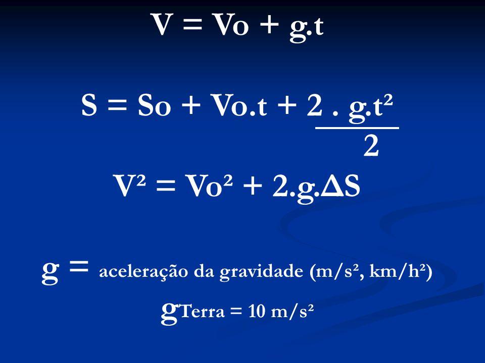 g = aceleração da gravidade (m/s², km/h²)