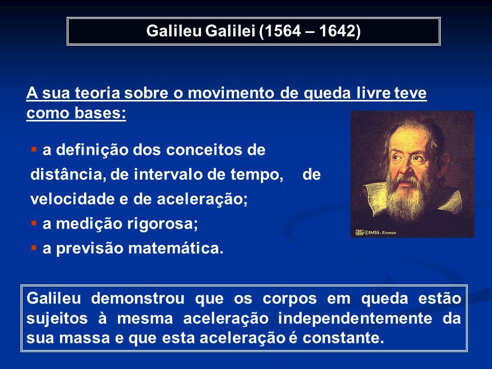 Galileu Galilei (1564 – 1642) A sua teoria sobre o movimento de queda livre teve como bases: