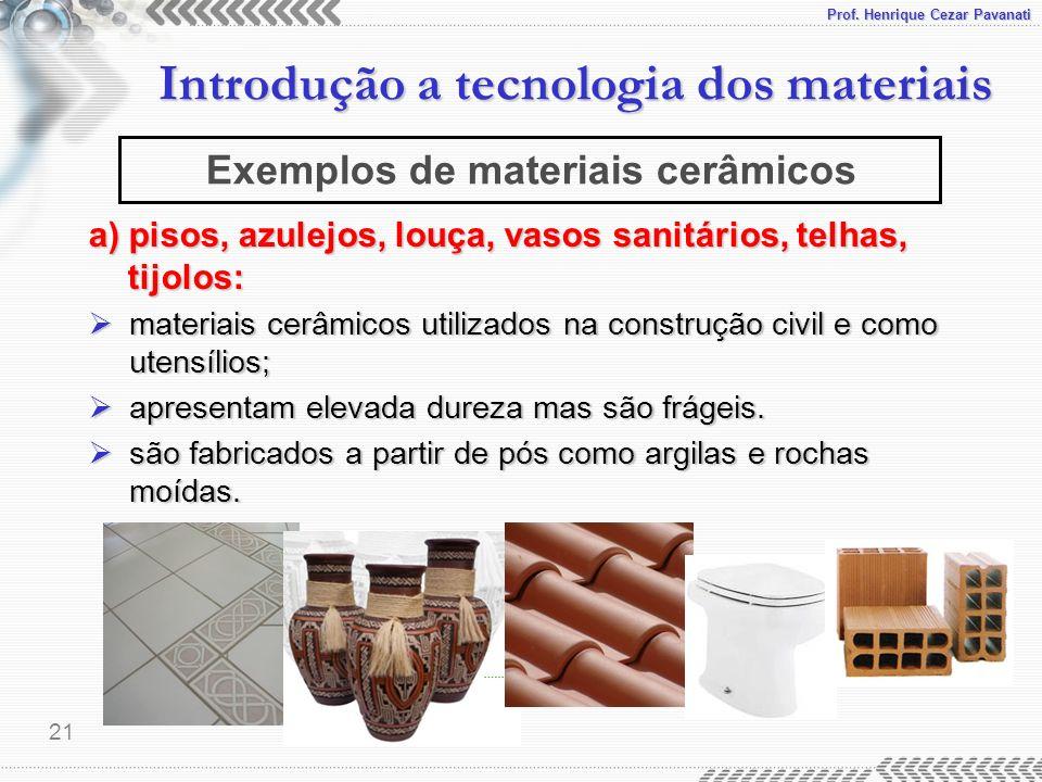 Exemplos de materiais cerâmicos